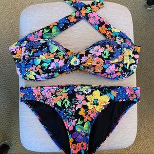 ABS Allen Schwartz Floral Bandeau Strapless Bikini